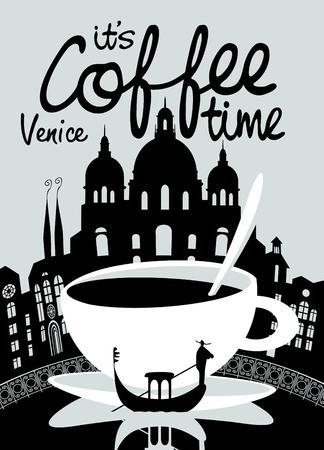 Vector banner on the theme of coffee and travel with handwritten inscriptions and a Cup of coffee on the background of the Venice landscape.