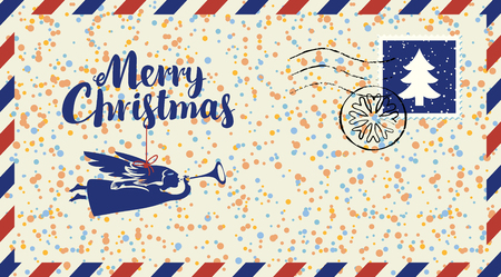 Vector envelope on the theme of Christmas with postage stamp and postmark. Calligraphic inscription Merry Christmas with angel on string on the background of colored confetti and snowflakes Illustration