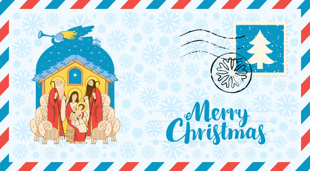 Vector envelope on the theme of Christmas with postage stamp and postmark. Bible illustration of Adoration of the Magi on the snowflakes background. Holy Family and Christmas angel. Mary and Jesus.