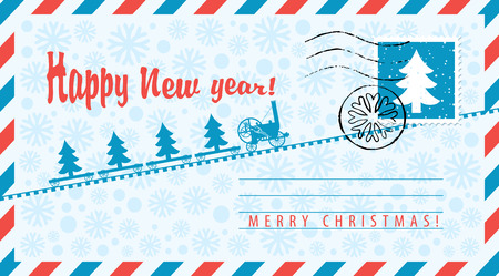 Vector envelope on the theme of Christmas and New year with postage stamp and postmark. An old steam locomotive carries Christmas trees on the background of snowflakes. Illustration