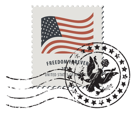 Ilustración de vector de un sello de correos de Estados Unidos con un matasellos en estilo retro. Bandera nacional estadounidense e inscripción Libertad para siempre.