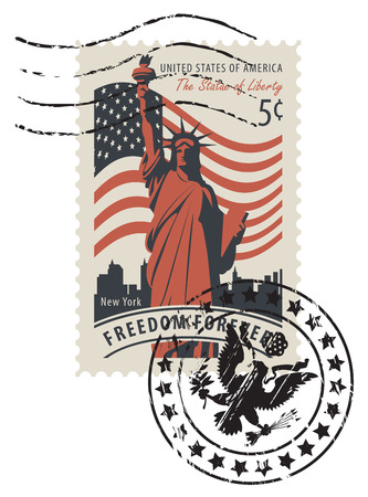 Vector illustration of a 5-cent USA postage stamp with a postmark in retro style. Postage stamp with statue of Liberty in background of american flag and New York skyscrapers and words Freedom forever