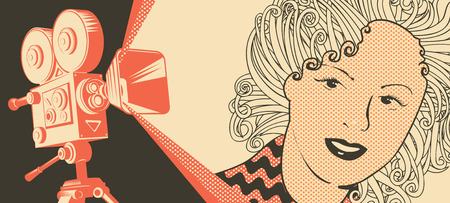 Vector banner on the theme of movie and cinema with old film projector and girl's face in retro style. Can be used for flyer, poster, ticket, web page, background Ilustração