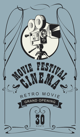 Vector poster for retro cinema movie festival with old fashioned movie camera in vintage style. Can be used for banner, poster, web page, background