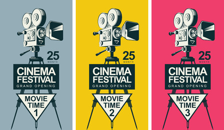 Set of three vector posters for cinema festival with old fashioned movie camera on the tripod in retro style. Can be used for flyer, ticket, poster, web page. Movie time 1, movie time 2, movie time 3 Vector Illustration