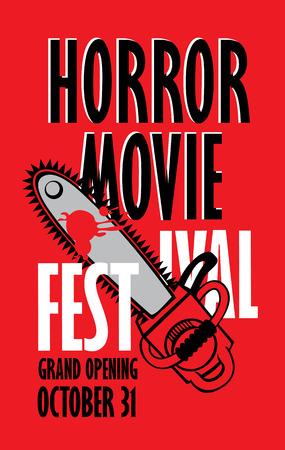 Vektorbanner für Festival-Horrorfilm. Eine blutige Kettensäge und Blutspritzer. Gruseliger Film-Werbedruck. Kann für Werbung, Banner, Flyer, Ticket, Webdesign, T-Shirt-Design verwendet werden