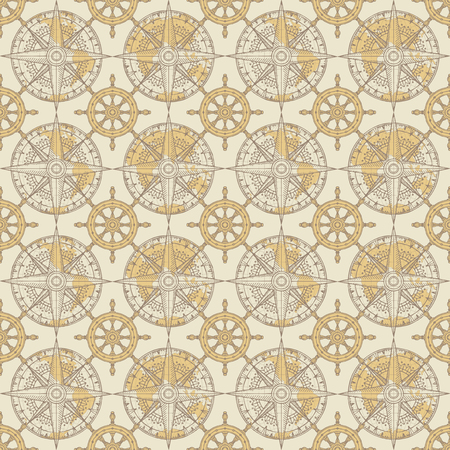 Vector seamless pattern on the theme of nautical travel, adventure and discovery. Wind roses, world maps and steering wheels in retro style on a beige background