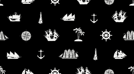 Vector seamless pattern on the theme of sea travel with different sailing ships, compass, anchor, steering wheel and others. Cute sea objects on a black background in retro style Иллюстрация