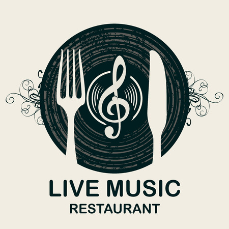Vector menu or banner for restaurant with live music decorated with old vinyl record, treble clef and cutlery on light background in retro style Illustration