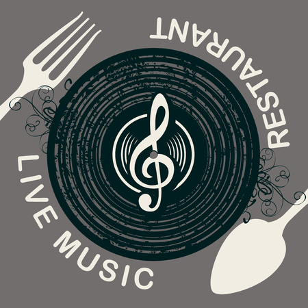 Vector menu or banner for restaurant with live music decorated with old vinyl record, treble clef and cutlery on grey background in retro style