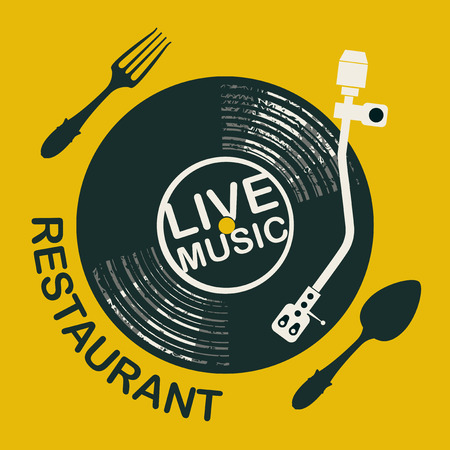 Vector menu or banner for restaurant with live music decorated with record player, old vinyl record and cutlery on yellow background in retro style