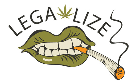 Vector banner with words Legalize marijuana with a human mouth with a joint or a cigarette in his teeth. Smoking weed. Drug consumption Vettoriali