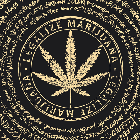 Bannière vectorielle pour légaliser la marijuana avec motif de feuille de cannabis sur fond abstrait de manuscrit illisible ou de vieux papyrus. Produit naturel à base de chanvre biologique. Fumer du cannabis