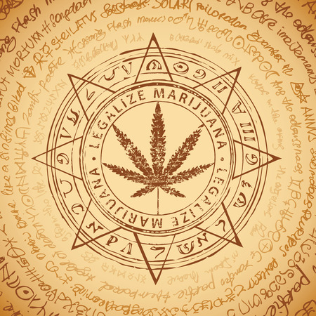 Vector banner for Legalize marijuana with cannabis leaf pattern on abstract background of illegible manuscript or old papyrus. Natural product made from organic hemp. Smoking weed