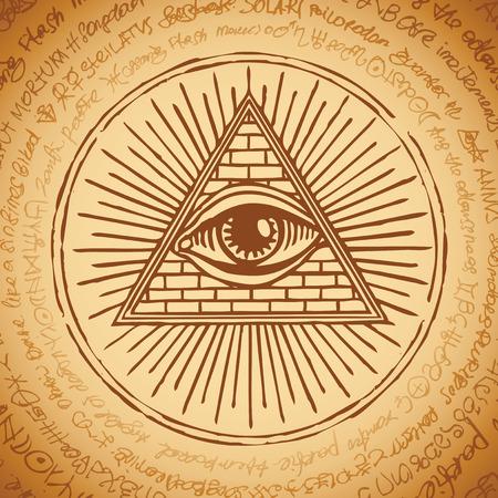 Bannière de vecteur avec Eye of Providence. Œil qui voit tout à l'intérieur de la pyramide triangulaire. Symbole Omniscience. Delta lumineux. Ancien symbole illuminati sacré mystique sur fond d'un vieux manuscrit illisible