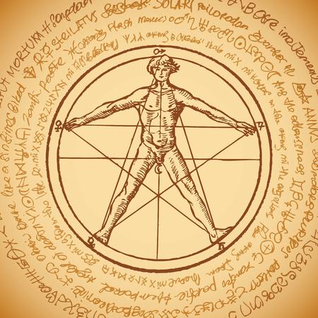 Vektorbanner mit einer menschlichen Figur wie dem vitruvianischen Mann Leonardo da Vinci in einem Pentagramm. Handgezeichnete Illustration im Vintage-Stil auf dem Hintergrund eines alten unleserlichen Manuskripts, das in einen Kreis geschrieben wurde.