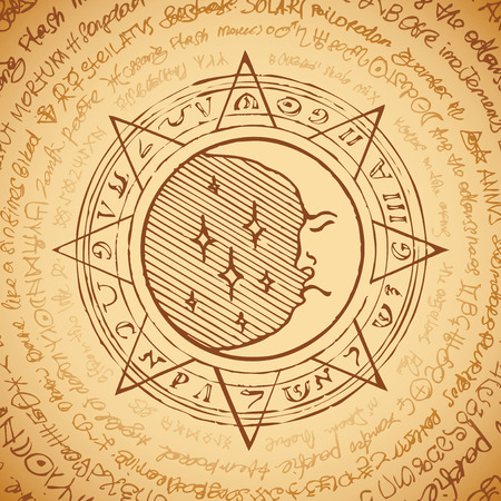 Illustration of the moon in an octagonal star with magical inscriptions and symbols on the beige background. Vector banner with old manuscript in retro style written in a circle.