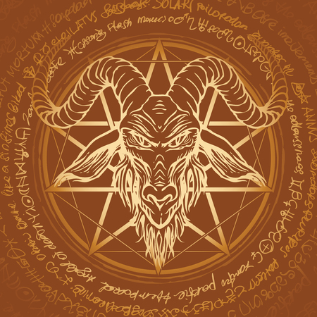 Vector banner with illustration of the head of a horned goat and pentagram inscribed in a circle. The symbol of Satanism Baphomet on the background of old manuscript written in a circle in retro style Ilustração