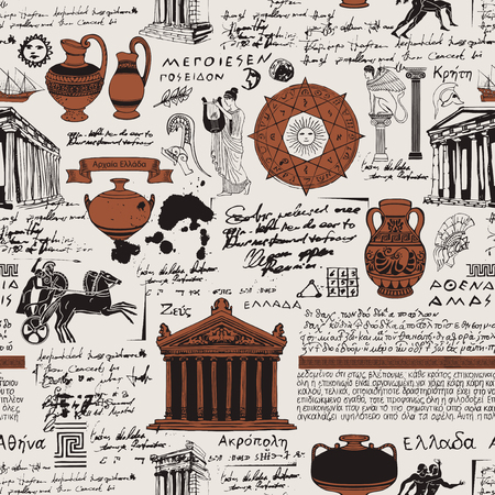 Vector seamless pattern on the theme of ancient Greece. Antique manuscript with sketches, illegible handwritten texts, blots and spots in retro style. Can be used as wallpaper or wrapping paper Иллюстрация