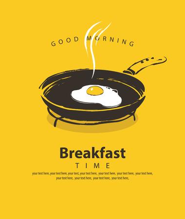 Banner vettoriale sul tema dell'ora della colazione con un uovo fritto su una padella, con posto per il testo in stile retrò su sfondo giallo Vettoriali