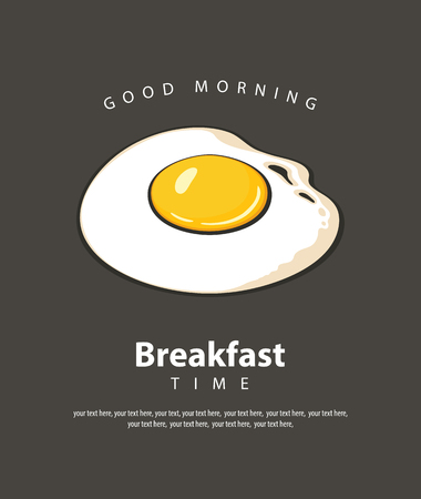 Vector banner on the theme of Breakfast time with hot fried egg and place for text on the black background in retro style