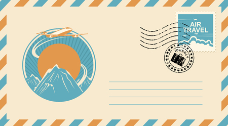 Postal envelope with postage stamp and postmark in retro style. Illustration on the theme of travel with an airplane in the sky flying over the mountains at sunset. Air travel