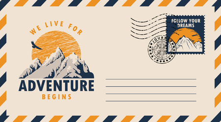 Postal envelope with postage stamp and postmark in retro style. Illustration on the theme of travel with the mountains, flying eagle and the inscription we live for adventure begins