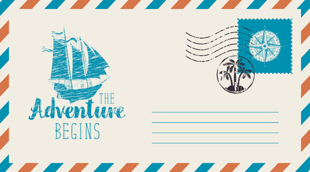 Postal envelope with postage stamp and postmark in retro style. Illustration on the theme of travel with a sailing ship and the words The adventure begins.