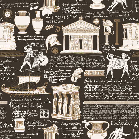 Vector seamless pattern on the theme of ancient Greece. Antique manuscript with sketches, illegible handwritten texts, blots and spots in retro style. Can be used as wallpaper or wrapping paper Illustration