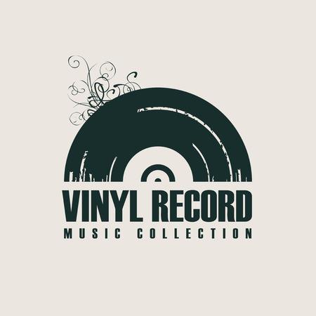 Icona o logo musicale vettoriale con disco in vinile nero in stile retrò con parole Disco in vinile, collezione musicale