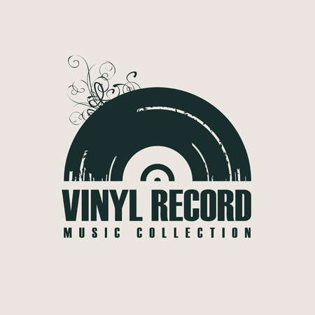 Vector music icon or logo with black vinyl record in retro style with words Vinyl record, Music collection
