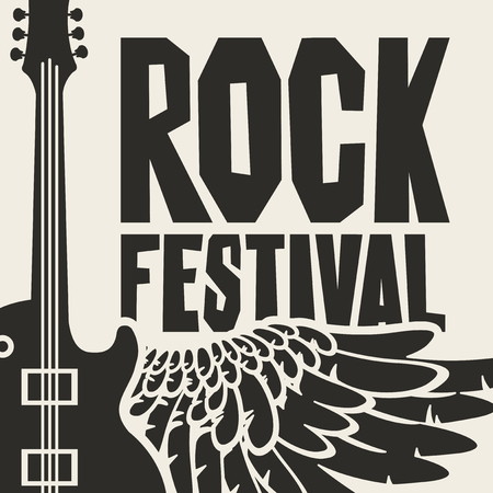 Vector poster or banner for Rock Festival with an electric guitar and wing