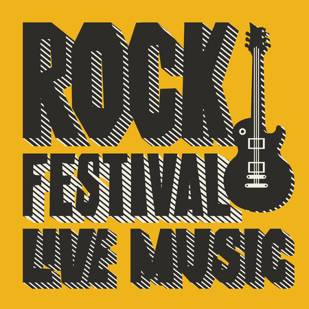 Vector poster or banner for Rock Festival of live music with an electric guitar on the yellow background. Creative lettering for t-shirt design in modern style Ilustração