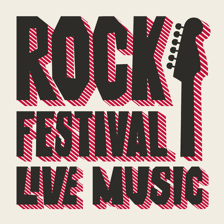 Vector poster or banner for Rock Festival of live music with neck of electric guitar. Creative lettering for t-shirt design in modern style Ilustração
