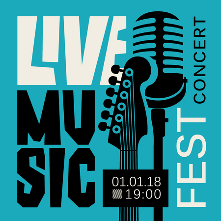 Vector poster for live music festival or concert with neck of acoustic guitar and microphone on the blue background Çizim