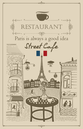 Vector menu for Parisian street cafe with views of the Eiffel Tower and old buildings, with table and chairs in retro style Illustration