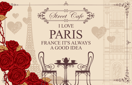Vector menu for Parisian street cafe with view of the Eiffel Tower and old buildings, with table and chairs. Romantic vector illustration with words I love Paris, red roses and hearts in retro style