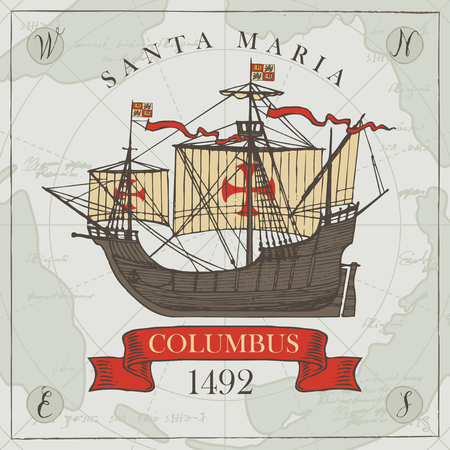 Vector banner with a vintage sailing yacht of Columbus and the words Santa Maria. Illustration on the theme of travel, adventure and discovery on the background of old map