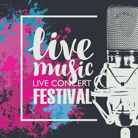 Vector poster for a live music festival with a realistic microphone on the abstract background with bright colored spots