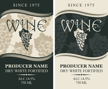 Set of two vector wine labels with bunches of grapes and inscription in retro style in grey and black colors. Dry white fortified