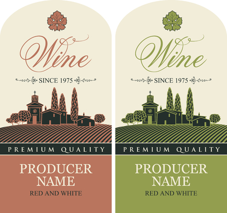 Conjunto de etiquetas vectoriales para vino tinto y blanco con un paisaje del pueblo europeo en estilo retro con una inscripción caligráfica Ilustración de vector