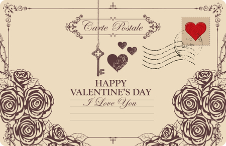 Retro valentine card or postcard with key, heart and roses. Romantic vector card in vintage style with place for text, calligraphic inscription I love you and words Happy Valentines day Ilustração