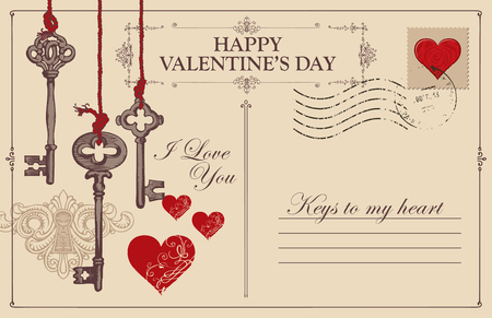 Retro valentine card in form of postcard with keys, keyhole and red hearts. Romantic vector card in vintage style with place for text and with calligraphic inscriptions I love you and Keys to my heart