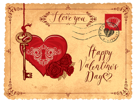 Valentine card in form of postcard with key, keyhole in the heart and red roses. Romantic vector card in retro style with place for text, handwritten inscriptions I love you and Happy Valentines day Vectores