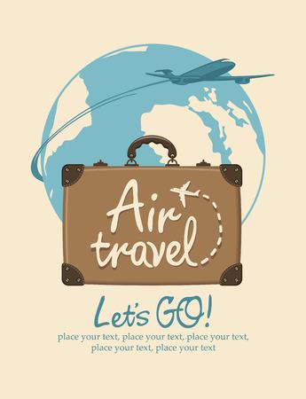 Banner vettoriale sul tema del viaggio aereo con una valigia da viaggio, iscrizioni scritte a mano e aereo passeggeri sullo sfondo del pianeta Terra in stile retrò. Trasporto aereo.