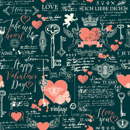 Vector seamless background on the theme of Declaration of love and Valentine's day in retro style. Abstract background with red hearts, keys, keyholes, cupids and handwritten inscriptions.
