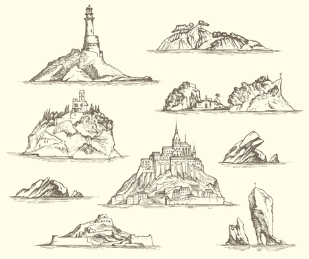Vector set of island sketches isolated on beige background in retro style. Pencil drawings of the Islands with rocks, fortresses, buildings, lighthouse. Nautical theme