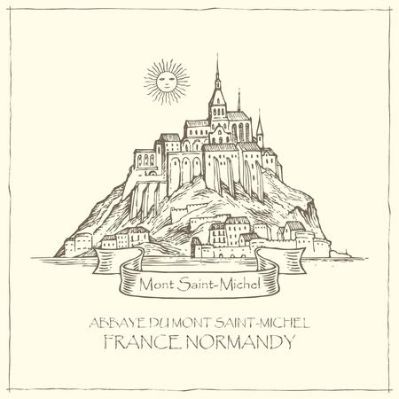 Bannière vectorielle dans un style rétro avec illustration dessinée à la main du Mont Saint-Michel, France. Visites touristiques françaises, forteresse abbatiale sur l'île.