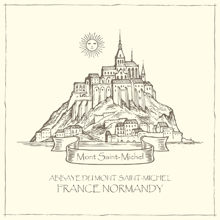 Vector banner in retro style with hand drawn illustration of Mont Saint-Michel, France. French sightseeing, abbey fortress on the island. 矢量图像