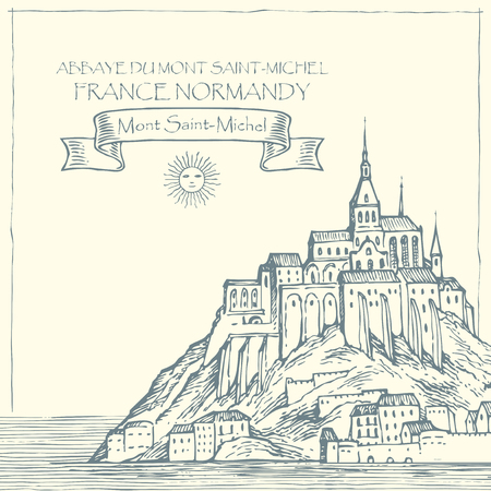 Vector banner in retro style with hand drawn illustration of Mont Saint-Michel, France. French sightseeing, abbey fortress on the island. Illustration